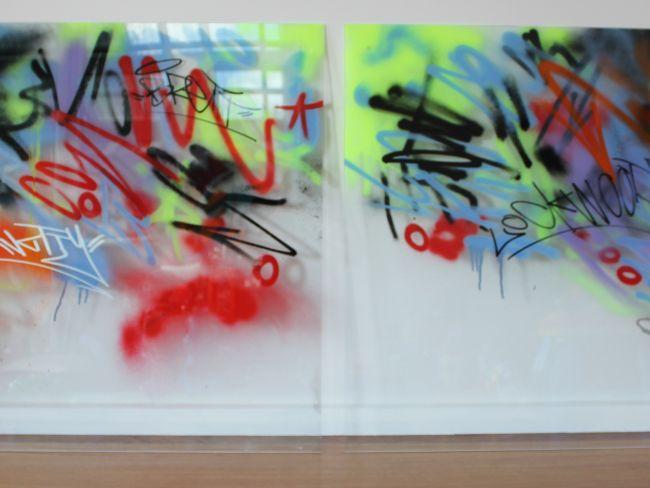 Glass Suspension Panels- Urban Scrawl