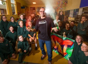Ashley Goudie, who as a teenager illegally spray painted Melbourne trains, is now teaching street art in Melbourne schools. Seen here teaching grade 6 kids from Bighton Beach Primary School how to do aerosol street art and graffiti as a 'normal practice' and 'positive art', and also the history and law. 5th June 2017. Photo by Jason South
