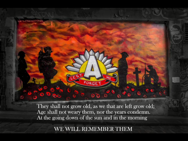 Anzac Tribute – Hosier Lane Melbourne  – April 2015 (100 years of Anzac)